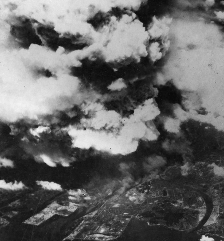 Aerial View of Atomic Bomb Explosion in Hiroshima