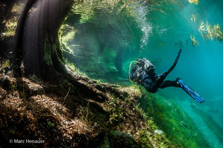 Diving Underwater in Grüner See