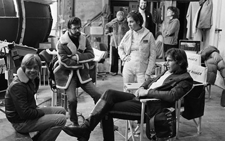 Mark Hamill, George Lucas, Carrie Fisher and Harrison Ford