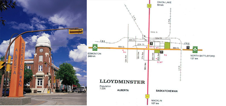 Alberta and Saskatchewan - Border City Lloydminster