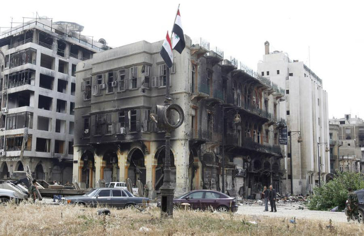 Old Clock Tower Square - Before and After Syrian Civil War