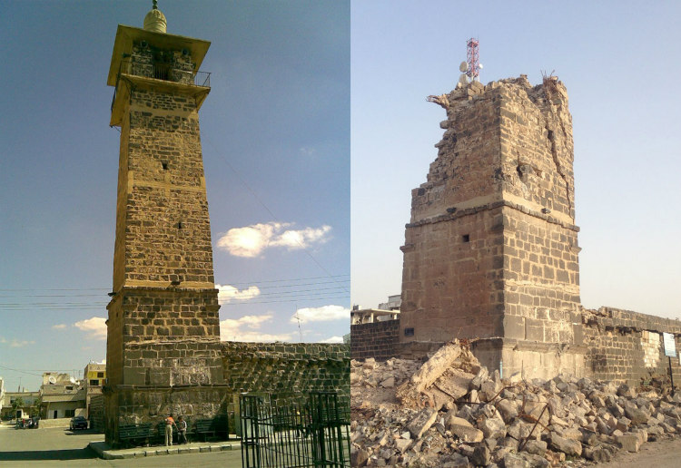 Omari Mosque in Daraa - Before and After Syrian War