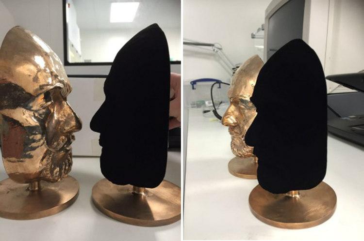 Bronze and Vantablack Busts