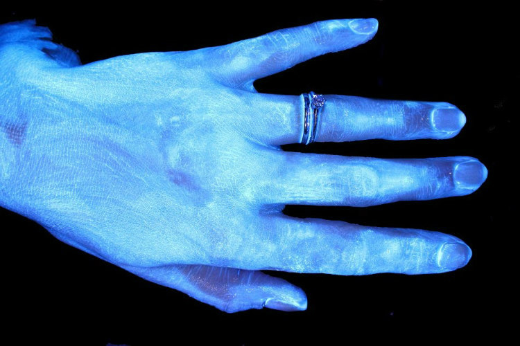 Hands and Hygiene - Tested with Glo Germ Gel Under UV Light (2)