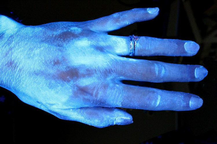 Hands and Hygiene - Tested with Glo Germ Gel Under UV Light (3)