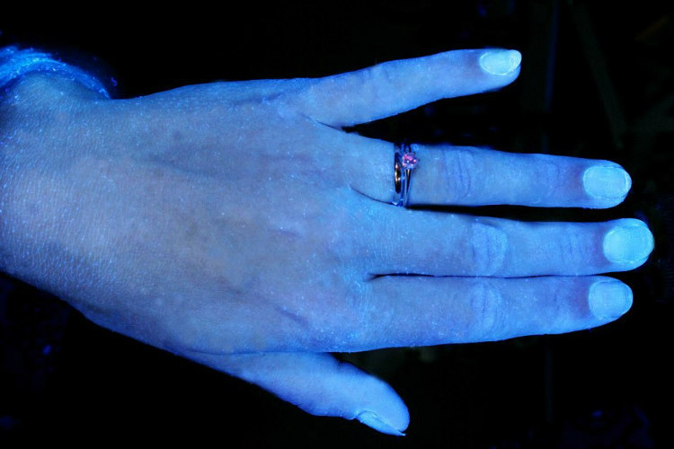 Hands and Hygiene - Tested with Glo Germ Gel Under UV Light (6)
