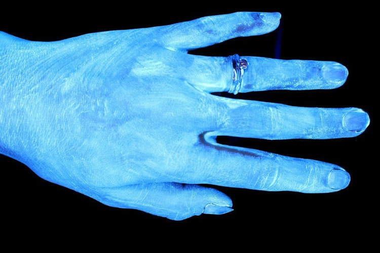 Hands and Hygiene - Tested with Glo Germ Gel Under UV Light