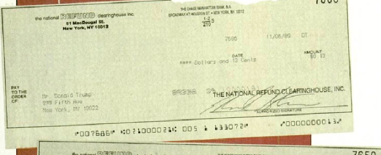 Donald Trump Spy Magazine's 13 Cents Check