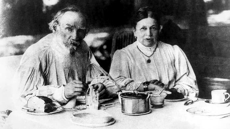 Leo Tolstoy with His Wife