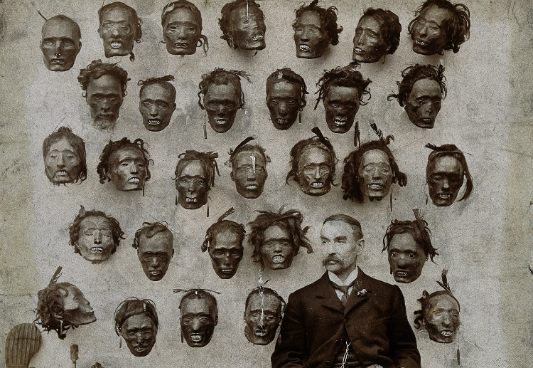 Horatio Gordon Robley with His Collection of Maori Heads