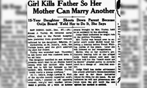 Newspaper article about ouija murder