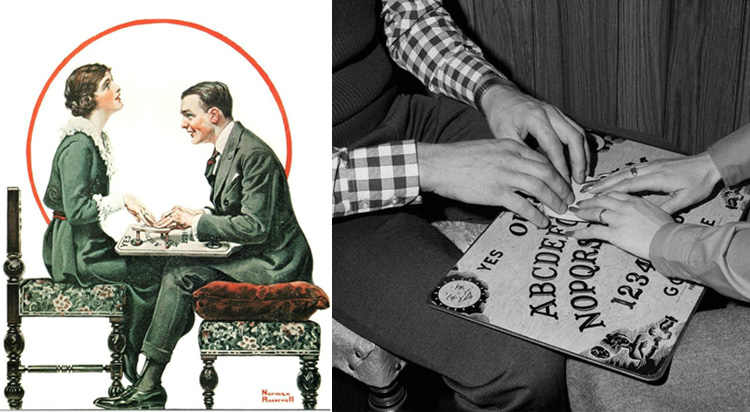 Norman Rockwell art depicting a man and woman playing Ouija