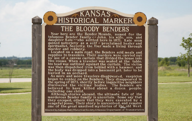 Historical Marker of Bloody Benders in Kansas