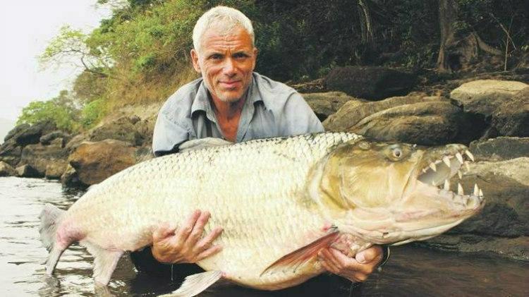 Jeremy Webb with Goliath Tigerfish