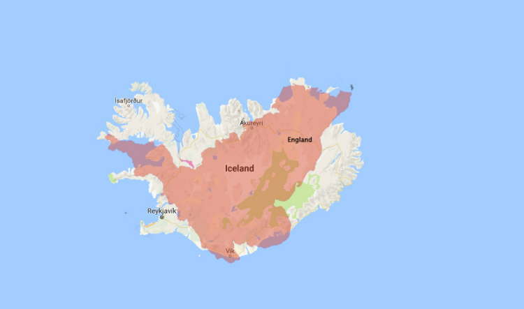 Iceland Vs. England in Size