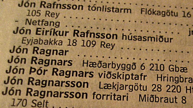 Icelandic Phonebook