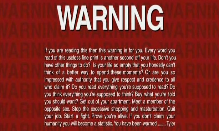Warning in The fight club