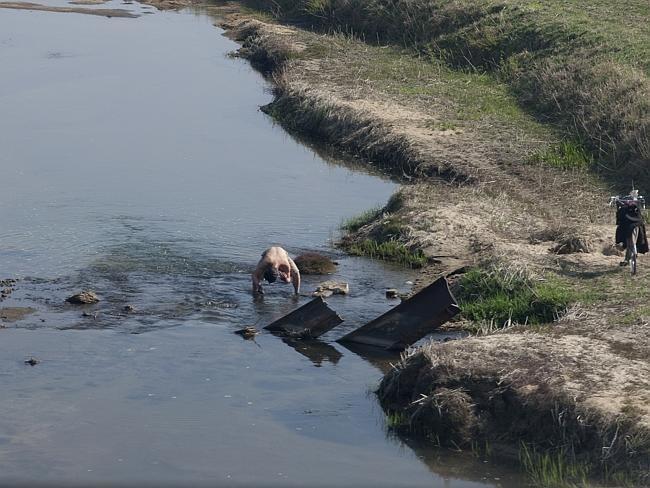 A Man bathing