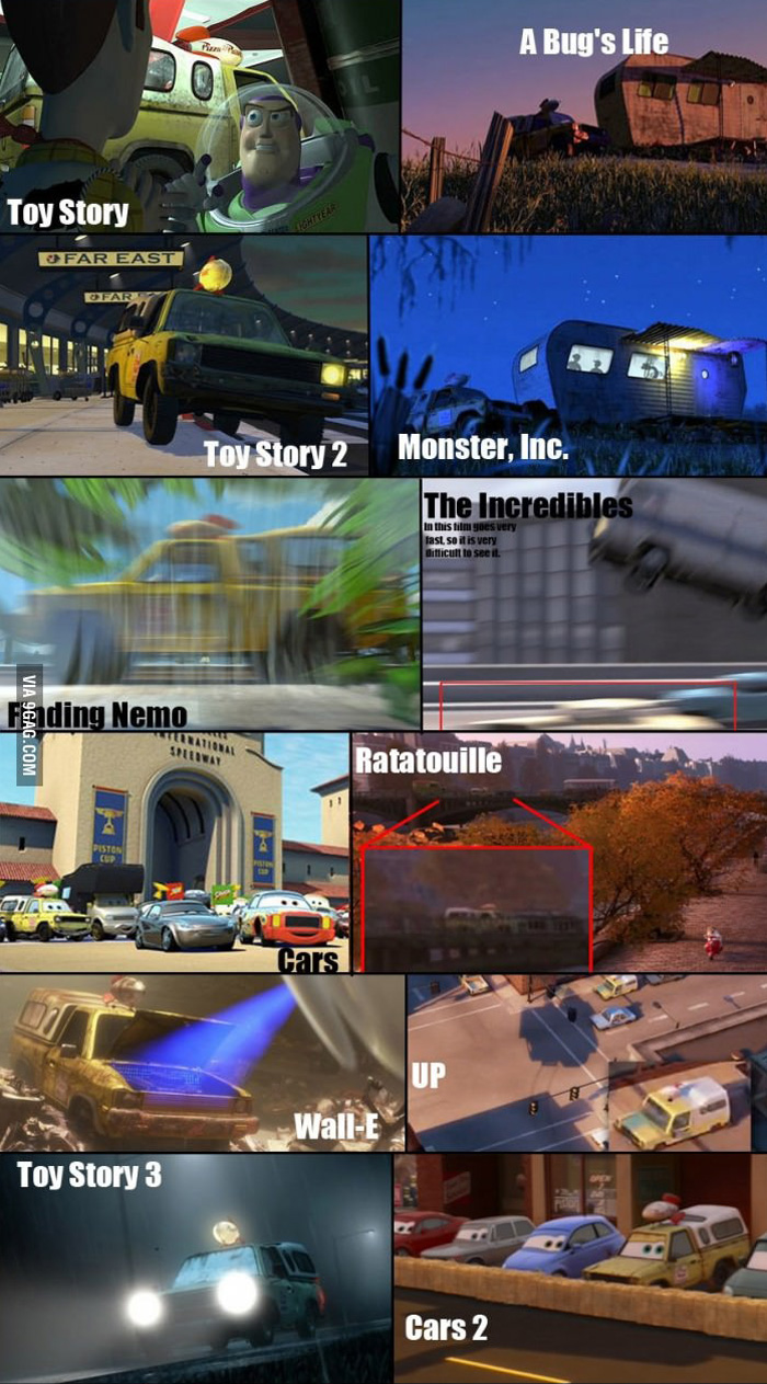 Pizza truck in all Pixar movies