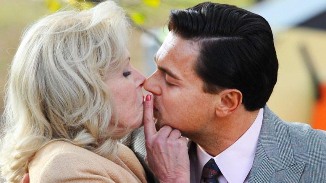 kissing scene between Joanna Lumley and Leonardo DiCaprio