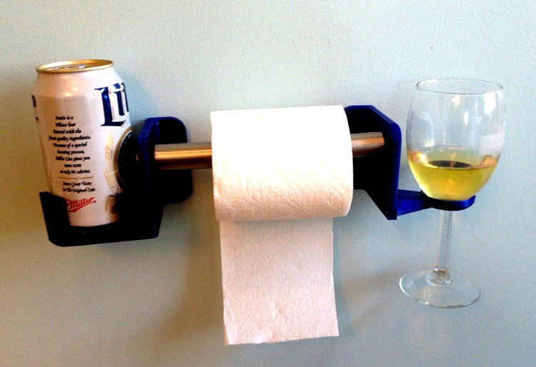 Toilet Paper Holder with Wine and Beer Stands