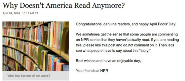 April fool prank NPR