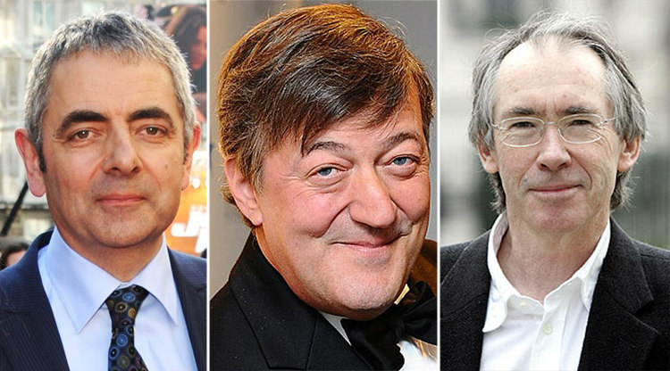 Rowan Atkinson, Stephen Fry and Ian McEwan