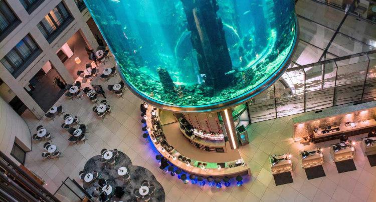 AquaDom Inside Radisson Blu's Atrium Lobby
