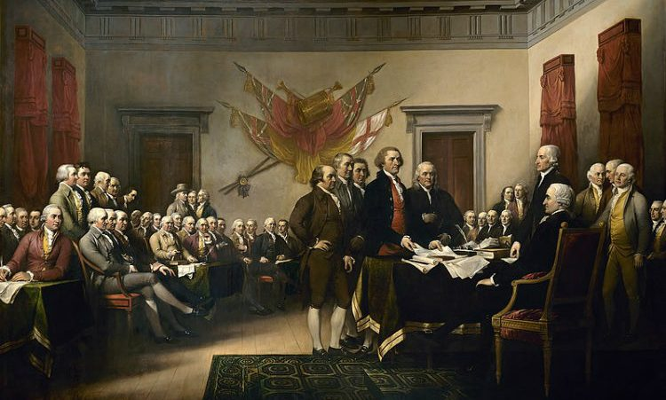 The signing of the United States Declaration of Independence