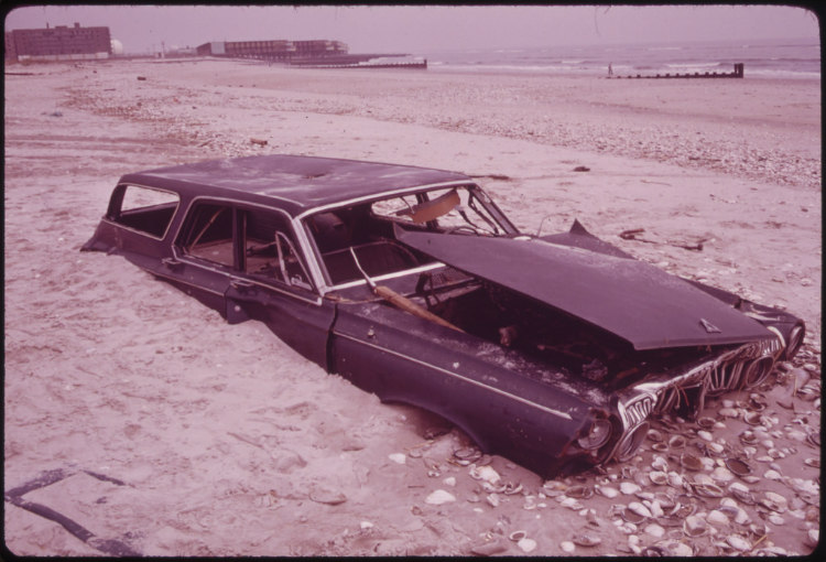 Abandoned Car on Beach at Breezy Point