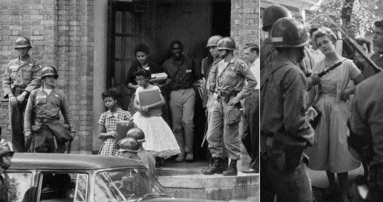 Airborne soldiers protecting Little Rock Nine