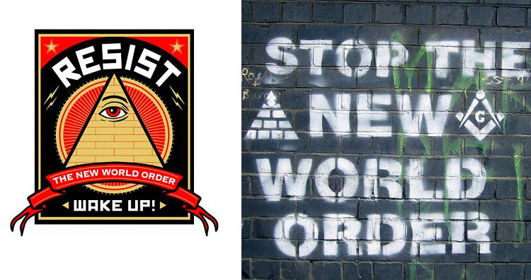 Anti new world order poster and graffiti