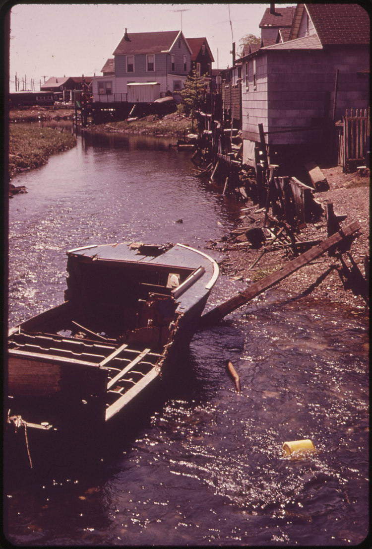 Debris-Laden Creek at Hunter's Point near the John F. Kennedy Airport