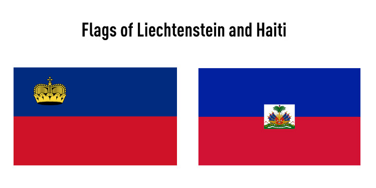 Flags of Liechtenstein and Haiti