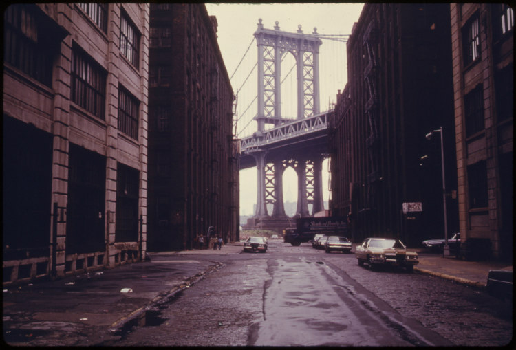 Manhattan Bridge Tower in Brooklyn, New York City