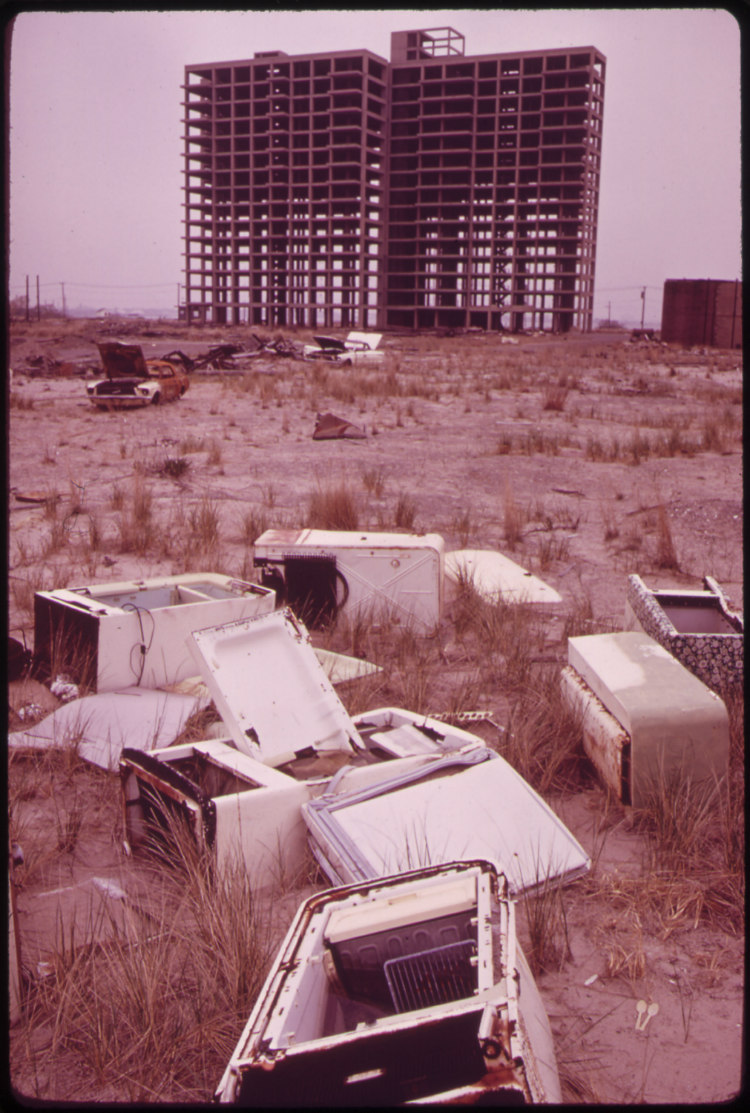 Old Refrigerators and Shell of Highrise at Breezy Point Highrise