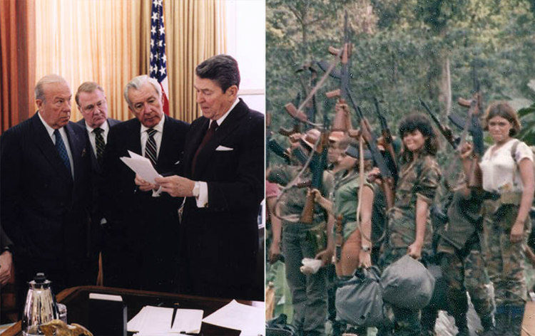 President Ronald Reagan with Aides and Contra Members