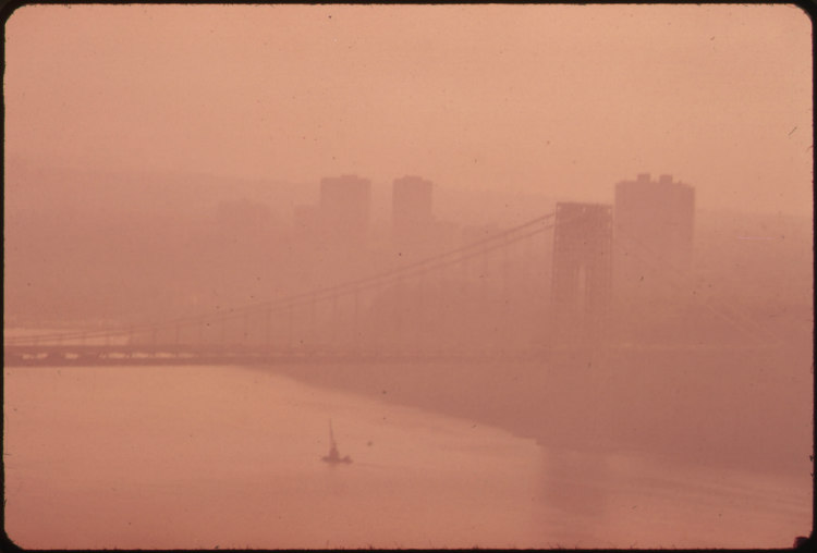 The George Washington Bridge in Heavy Smog
