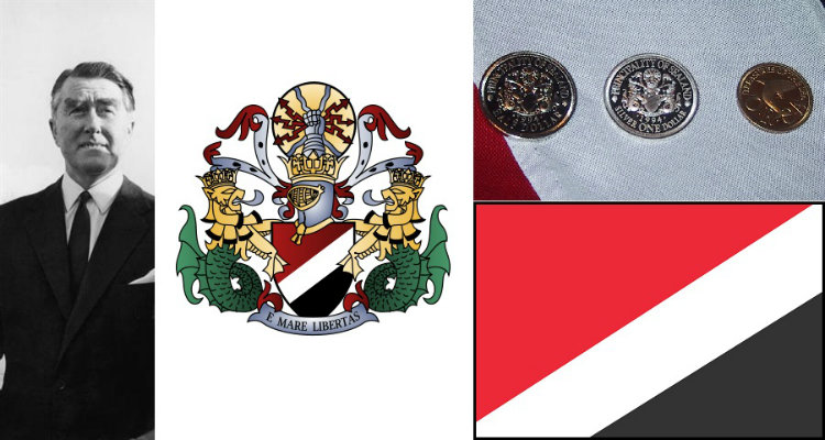 Roy Bates and Sealand coat of arms, flag, and currency