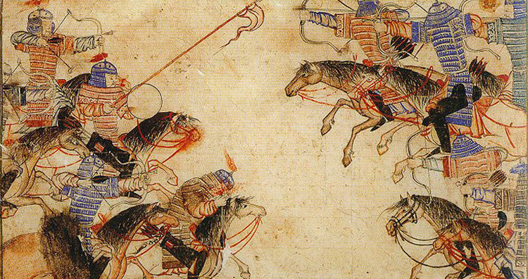 Attacking on horses.