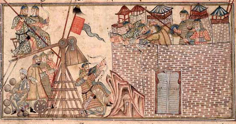 Mongols besieging a city.