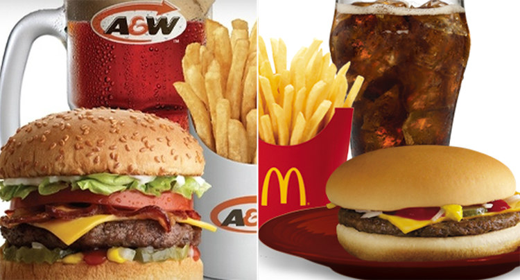 A&W and McDonald's Burgers
