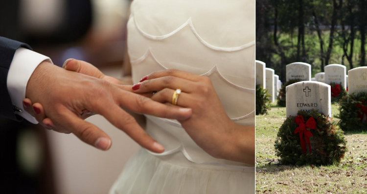 wedding and a grave