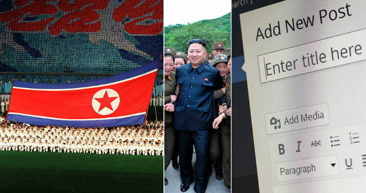 North Korean flag Kim Jong-un and a blog