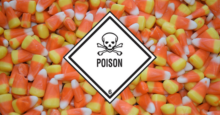 Poison warning and candy
