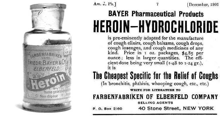 Bayer Heroin cough syrup and marketing material