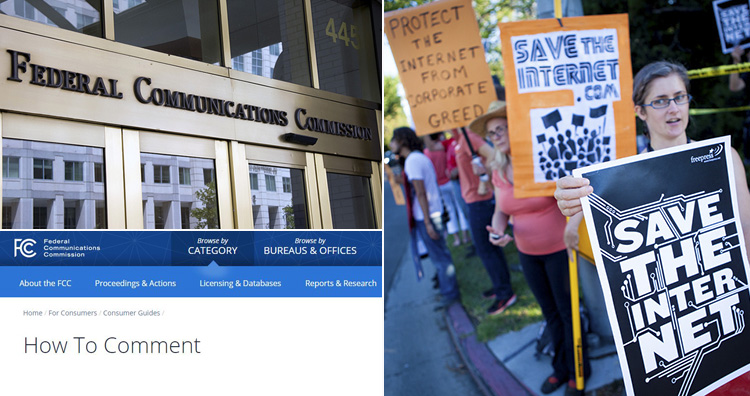 FCC building and website and protesters