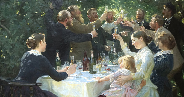 Friends raising toast