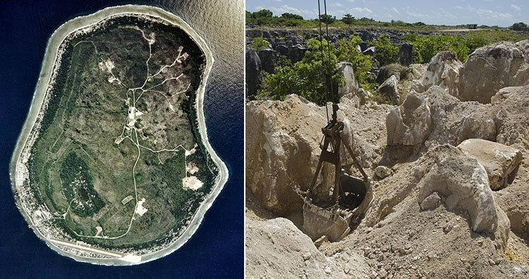 Nauru aerial view and mines