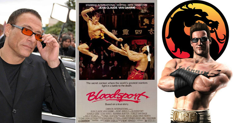 Van Damme and Bloodsport poster and Johnny Cage
